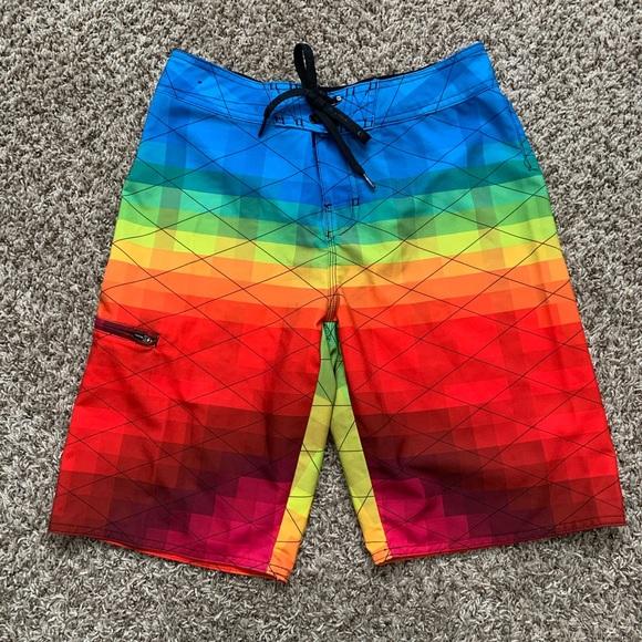 XL L Boys Hang Ten Multi-Color Floral Print Board Shorts Size M